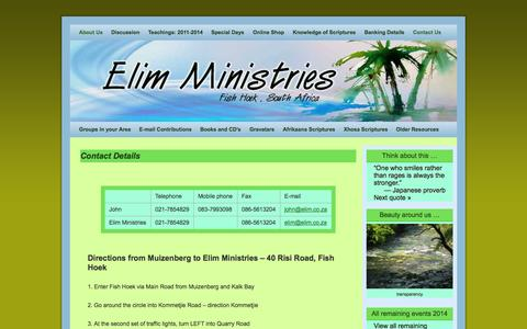 Screenshot of Contact Page elim.co.za - Contact Details - Elim Ministries - captured Oct. 27, 2014