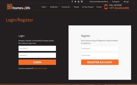 Screenshot of Login Page homes4life.ae - Login/Register - captured Nov. 11, 2016
