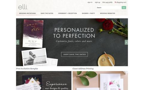 Screenshot of Home Page elli.com - Wedding Invitations and Save the Date Cards by Elli - captured Sept. 26, 2017