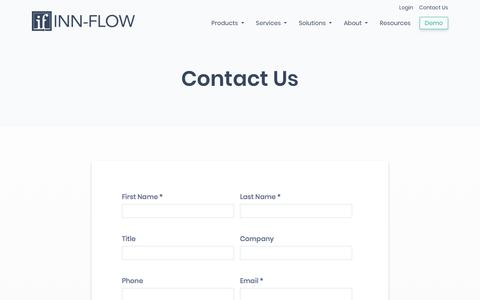 Screenshot of Contact Page inn-flow.com - Contact a Hospitality Expert to Try a Demo or Learn More | Inn-Flow - captured Nov. 8, 2019