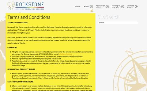 Screenshot of Terms Page executiverelocation.co.za - Terms & Conditions - captured Oct. 1, 2014