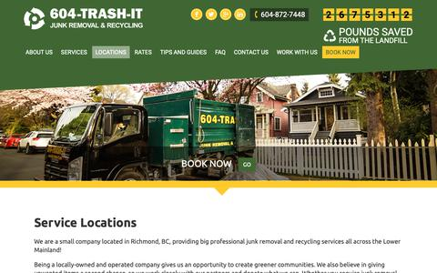 Screenshot of Locations Page 604-trash-it.com - Service Locations | 604-TRASH-IT - captured Oct. 20, 2018