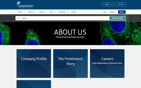Screenshot of About Page ptglab.com - About Us | Proteintech Group - captured May 24, 2019