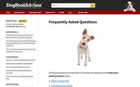 Screenshot of FAQ Page dogfoodadvisor.com - Frequently Asked Questions About Dog Food | The Dog Food Advisor - captured March 27, 2019