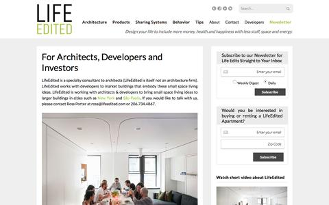 Screenshot of Developers Page lifeedited.com - For Architects, Developers and Investors - LifeEdited - captured Sept. 18, 2016