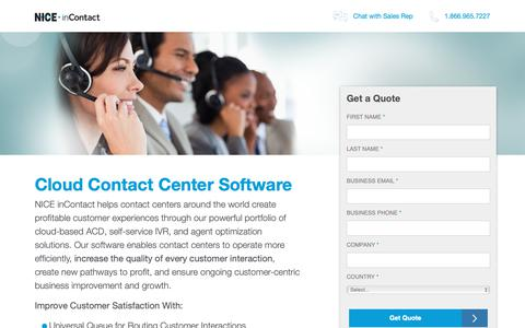 Screenshot of Landing Page incontact.com - NICE inContact - captured Oct. 5, 2018