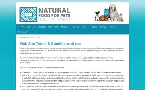 Screenshot of Terms Page burnspet.co.uk - terms & conditions of use | Burns Pet Food - captured March 28, 2016