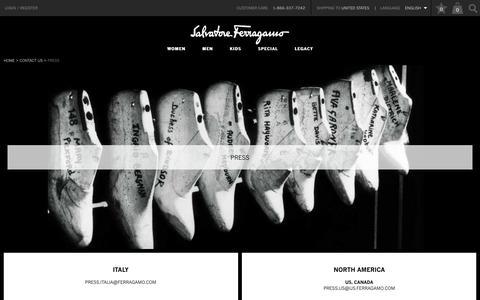 Screenshot of Press Page ferragamo.com - Press - Contact Us  - Salvatore Ferragamo - captured Nov. 19, 2016