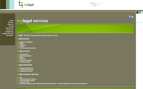 Screenshot of Services Page mylegal.net.au - mylegal Legal Services - captured Oct. 1, 2014
