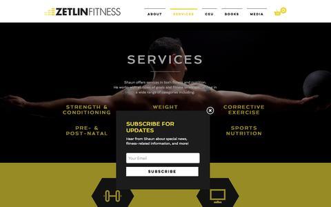 Screenshot of Services Page zetlinfitness.com - Zetlin Fitness | SERVICES - captured Dec. 19, 2016