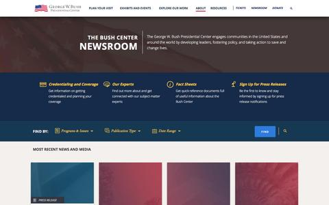 Screenshot of Press Page bushcenter.org - The Bush Center Newsroom - captured Sept. 3, 2016
