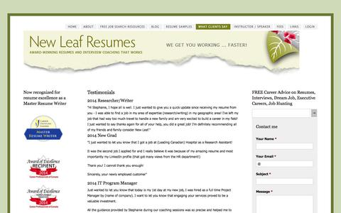 Screenshot of Testimonials Page newleafresumes.ca - What Clients Say - Professional resume writer and interview coach. - captured Oct. 1, 2014