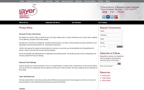 Screenshot of Privacy Page layer3securityservices.com - Privacy Policy | Layer3SecurityServices.com - captured Sept. 29, 2014