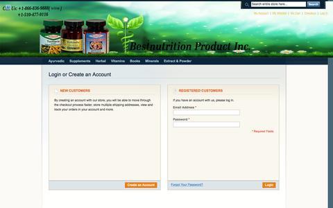 Screenshot of Login Page nutritionbest.com - Customer Login - captured Feb. 7, 2016