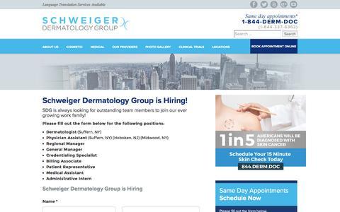 Screenshot of Jobs Page schweigerderm.com - We Are Hiring - Schweiger Dermatology - captured Nov. 11, 2016
