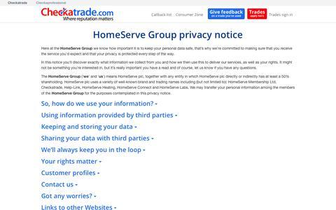 Screenshot of Privacy Page checkatrade.com - Checkatrade: HomeServe Group privacy notice - captured June 19, 2018