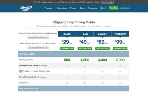 Screenshot of Pricing Page shippingeasy.com - ShippingEasy Pricing and Plans for Online Sellers | Start Saving - captured Oct. 9, 2017