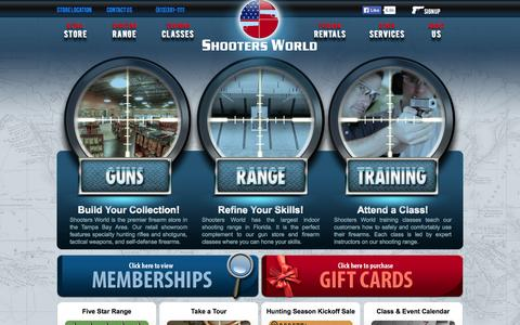 Screenshot of Home Page shootersworld.com - Firearms Store & Classes | Shooting Range & More at Shooters World - captured Sept. 19, 2014
