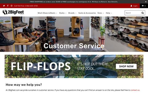Screenshot of Support Page 2bigfeet.com - Customer Service - 2BigFeet - captured Sept. 23, 2018