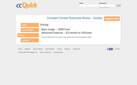 Screenshot of Pricing Page ccquick.com - Pricing | ccQuick - captured March 2, 2016