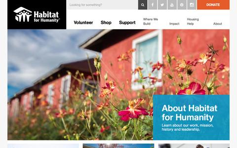 Screenshot of About Page habitat.org - About Habitat for Humanity | Habitat for Humanity - captured Oct. 31, 2016