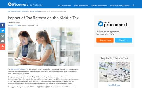 Screenshot of Press Page intuit.com - Impact of Tax Reform on the Kiddie Tax | Tax Pro Center | Intuit ProConnect - captured Nov. 21, 2019