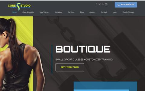 Screenshot of Home Page core5studio.com - Core5 Studio: Personal Training | Spin Classes | Ballet Barre| Yoga Classes | Pilates Classes - captured Dec. 6, 2015