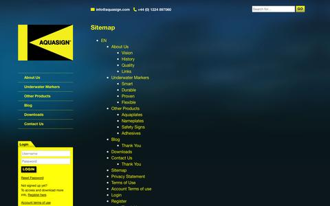 Screenshot of Site Map Page aquasign.com - Sitemap - Aquasign - Marine Antifouling Subsea Markers - captured Oct. 4, 2014