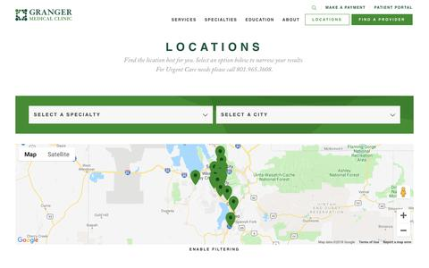Screenshot of Locations Page grangermedical.com - Locations Archive - Granger Medical Clinic - captured Nov. 11, 2018