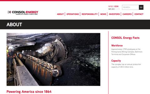 Screenshot of About Page consolenergy.com - About | CONSOL Energy Inc. - captured Dec. 2, 2017