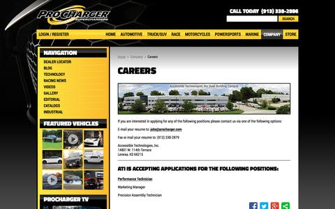 Screenshot of Jobs Page procharger.com - ATI Career Opportunities | ProCharger - captured Jan. 21, 2016