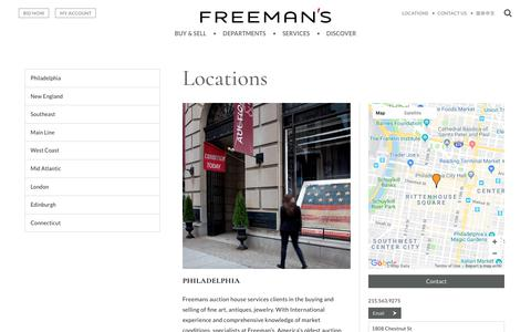 Screenshot of Contact Page Locations Page freemansauction.com - Locations | Freeman's - captured Sept. 22, 2018
