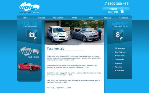 Screenshot of Testimonials Page wowwash.com.au - Testimonials  | WOW Wash - captured Oct. 7, 2014