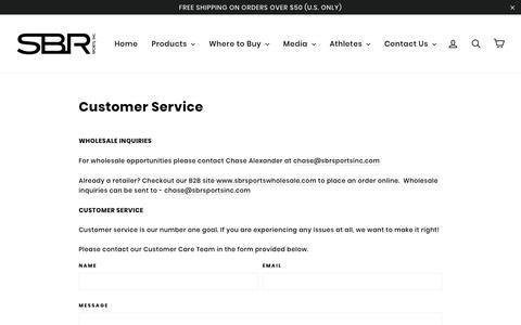 Screenshot of Support Page sbrsportsinc.com - Customer Service - captured July 25, 2018