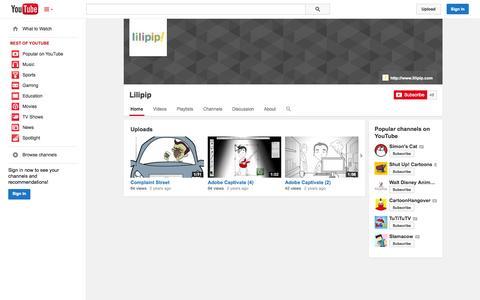 Screenshot of YouTube Page youtube.com - Lilipip  - YouTube - captured Oct. 23, 2014