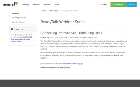 ReadyTalk Webinar Series | ReadyTalk