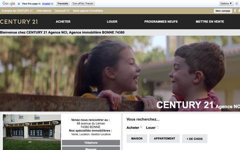 Screenshot of Home Page century21-agence-nci-bonne.com - Agence immobilière à BONNE 74380 - CENTURY 21 Agence NCI - captured Nov. 2, 2018