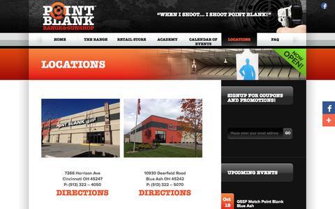 Screenshot of Locations Page shootpointblank.com - Locations | Point Blank Indoor Shooting Range & Gun Shop | Cincinnati Ohio - captured Oct. 2, 2014