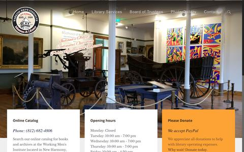 Screenshot of Home Page workingmensinstitute.org - Working Men's Institute – Indiana's oldest continuous operating public library and museum - captured Oct. 22, 2018