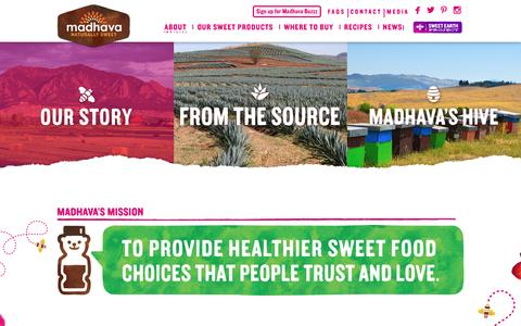 Screenshot of About Page madhavasweeteners.com - About Us | Madhava - captured Nov. 17, 2016