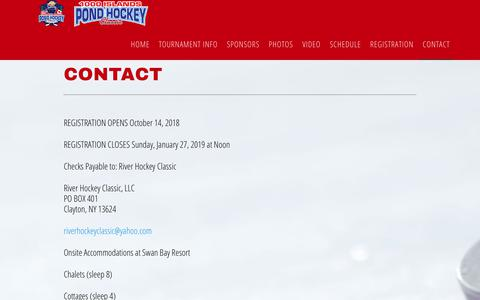 Screenshot of Contact Page riverhockeyclassic.com - Contact - captured Nov. 7, 2018