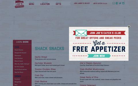 Screenshot of Menu Page joescrabshack.com - Joe's Crab Shack - captured Sept. 20, 2018