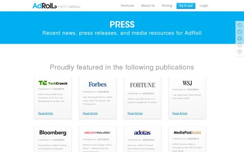 Screenshot of Press Page adroll.com - Retargeting News and Press Releases | AdRoll - captured July 20, 2014