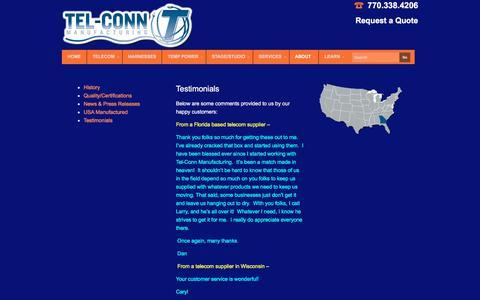 Screenshot of Testimonials Page tel-conn.com - Testimonials - captured Nov. 6, 2017