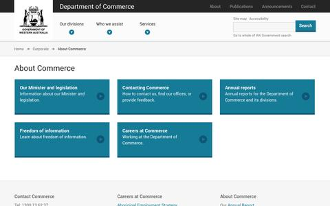 Screenshot of About Page commerce.wa.gov.au - About Commerce | Department of Commerce - captured Oct. 5, 2014