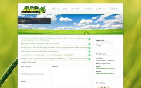 Screenshot of FAQ Page aiglawnandlandscape.com - FAQ - AIG Lawn and Landscaping - captured Feb. 4, 2016