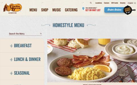 Screenshot of Menu Page crackerbarrel.com - Southern Meals | Best Country Cooking | Cracker Barrel Menu - captured July 22, 2018