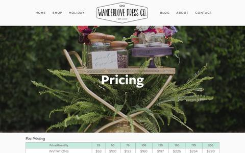 Screenshot of Pricing Page wanderlovepress.com - Custom Paper Goods Pricing — Wanderlove Press - captured Feb. 15, 2016