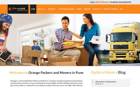 Screenshot of Home Page orangepackersmovers.com - Best Packers and Movers in Pune   Movers and Packers Services in Pune - captured Feb. 21, 2020
