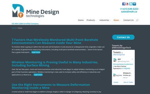 Screenshot of Press Page mdt.ca - Mine Design Technologies News | Mine Design Technologies - captured Nov. 29, 2016